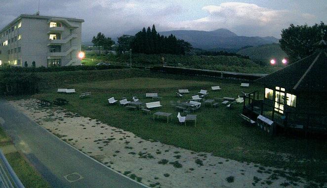東海大学 阿蘇校舎の中庭と阿蘇山ライブカメラと雨雲レーダー/熊本県南阿蘇村