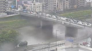 白川と国道3号・長六橋ライブカメラと雨雲レーダー/熊本県熊本市