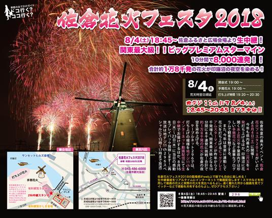 佐倉花火フェスタ2018ライブカメラと雨雲レーダー/千葉県佐倉市