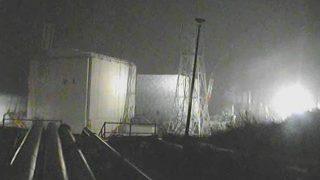 福島第一原子力発電所(ふくいち)ライブカメラ(4号機側)と雨雲レーダー/福島県大熊町